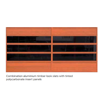 Aluminium Timber qith tinted polycarbonate insert panels