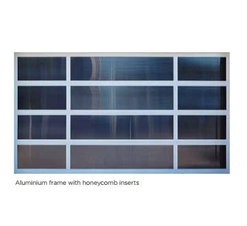 Aluminium frame with honeycomb inserts