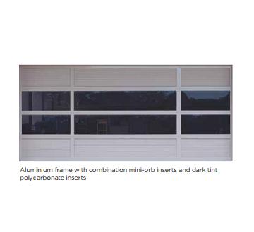 Aluminium frame with mini-orb dark tint plocarbonate inserts