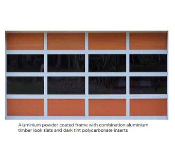 Aluminium powder coated frame with combination aluminium timber look slats and dark tint polycarbonate inserts