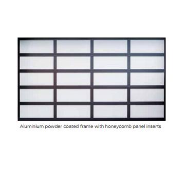 Aluminium powder coated frame with honeycomb panel inserts