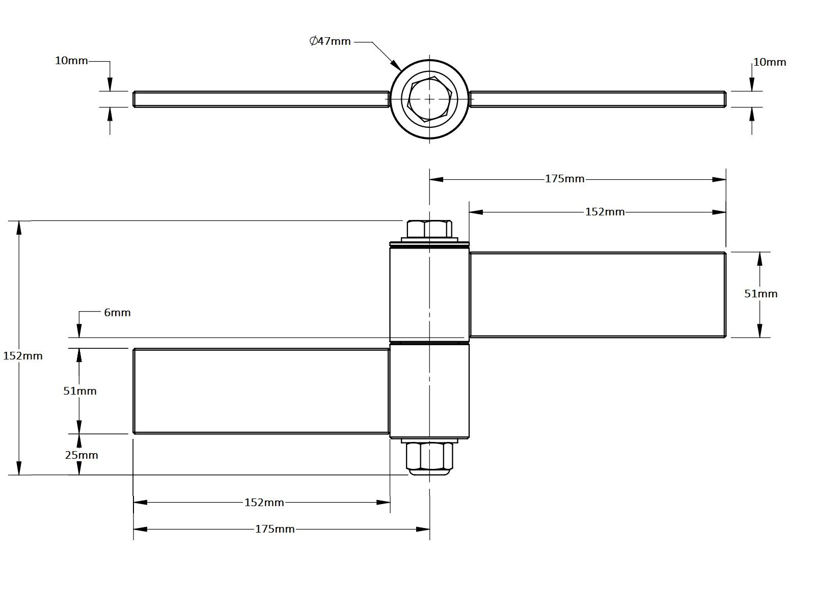 Uphill Strap Hinge Set Badass 254mm 152mm Samtgatemotors
