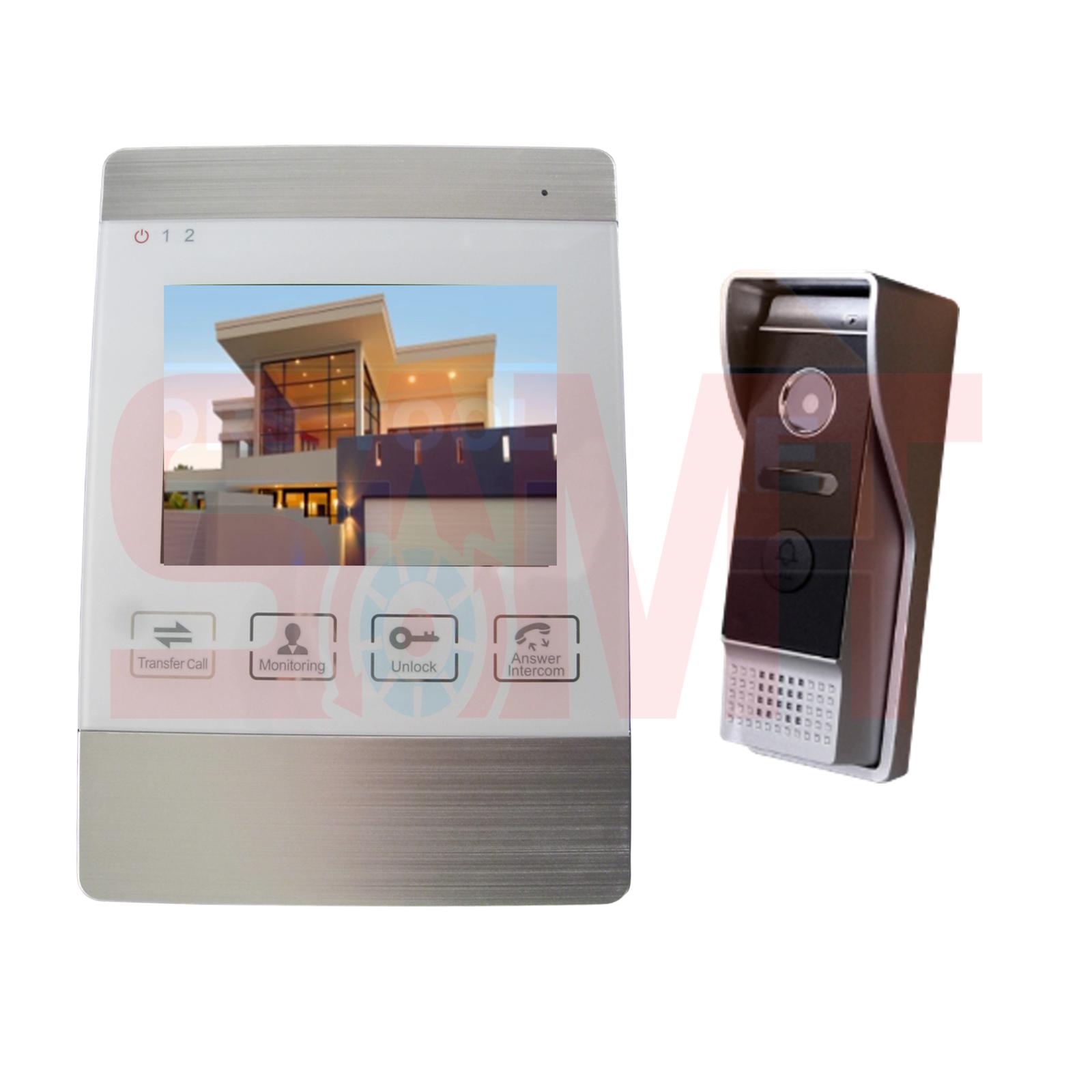 4 White Intercom Doorbell Camera Kit Samtgatemotors